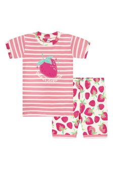 Girls Pink Delicious Berries Organic Cotton Short Pyjama Set