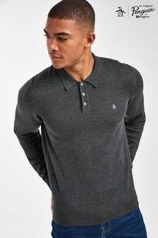 Original Penguin® Grey 12GG Merino Polo Sweater