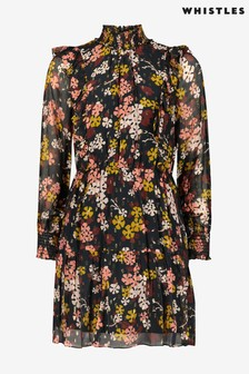 Whistles Clover Floral Print Ruffle Dress