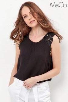 M&Co Black Crinkle Crochet Top