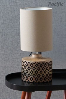 Orissa Short Wooden Geo Table Lamp by Pacific