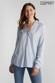 Esprit Blue Striped With Turn-Up Sleeves Blouse