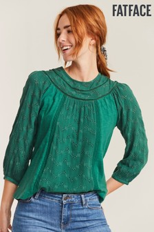 FatFace Green Maisey Lace Top