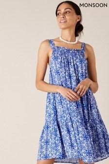 Monsoon Blue Beaded Neckline Printed Dress