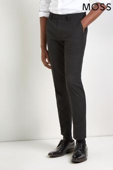 Moss London Skinny Fit Machine Washable Black Plain Trousers