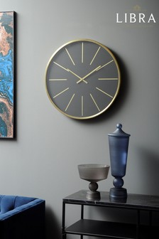 Libra Black And Brass Numeral Steel Wall Clock
