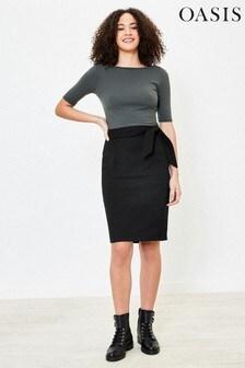 Oasis Black Tie Belt Pencil Skirt