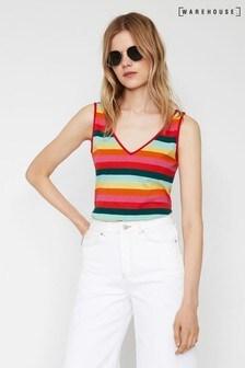Warehouse Black Rainbow Stripe Vest Top