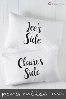 Personalised My Side And Your Side Pillowcases by Loveabode