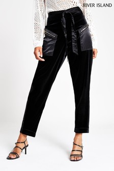 River Island Black Velvet Milly Trousers