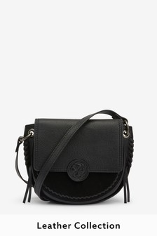 Leather Stitch and Embossed Detail Saddle Bag