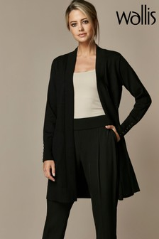 Wallis Petite Black Longline Wool Cardigan