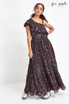 Free People Black Ditsy Floral Maxi Dress