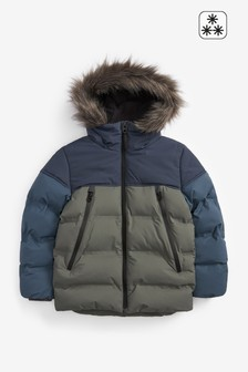 Faux Fur Hooded Padded Jacket (3-16yrs)