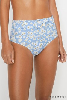 Warehouse Blue Daisy Belted Bikini Bottoms