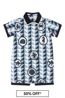Dolce & Gabbana Kids Dolce & Gabbana Baby Boys Navy Cotton Rompersuits