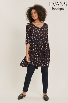 Evans Curve Navy Blue Floral Swing Tunic