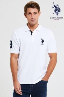U.S. Polo Assn. White DHM Large Pique Poloshirt