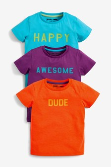 3 Pack Short Sleeve Slogan T-Shirts (3mths-7yrs)