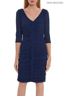 Gina Bacconi Blue Cherry Mesh Ruched Dress With Frill