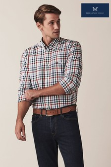 Crew Clothing Company Blue Long Sleeve Classic Check Flannel Shirt
