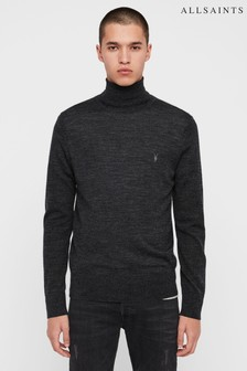 AllSaints Black Mode Merino Roll Neck Jumper