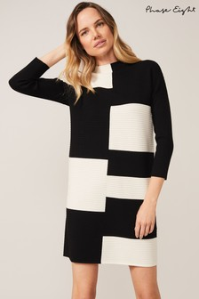 Phase Eight Black Severine Piano Block Dress