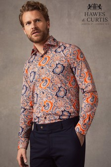 Hawes & Curtis Orange Paisley Slim Fit Stretch Shirt