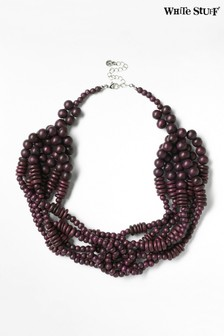 White Stuff Red Multi Plaited Bead Necklace