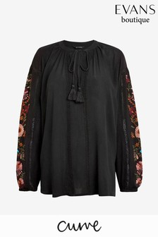 Evans Curve Black Embroidered Sleeve Blouse