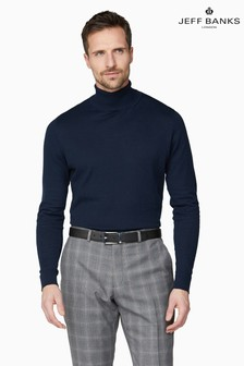 Jeff Banks Blue Men's Knitted Roll Neck Jumper