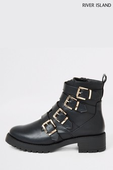 River Island Black Multi Strap Chunky Solder Boots