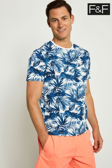 F&F Blue Bamboo Leaf Floral All Over Print T-Shirt