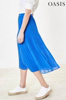 Oasis Blue Mushroom Pleat Midi Skirt