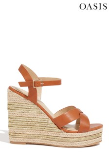 Oasis Tan Orla Metallic High Wedges