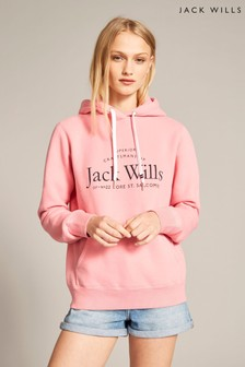 Jack Wills Pink Hunston Back Graphic Hoody