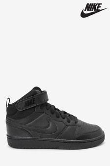 נעלי ספורט Court Borough שחורות בגזרה גבוהה לנוער של Nike