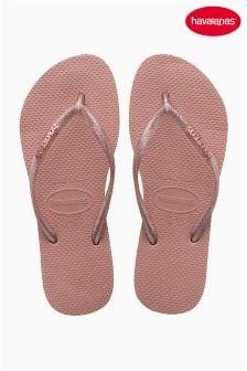 Havaianas® Slim Logo Metallic Pink Rosa Flip Flop