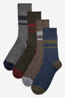 Heavyweight Stripe Recycled Yarn Socks Four Pack