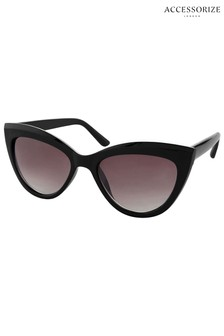 Accessorize Black Ava Classic Cat Eye Sunglasses