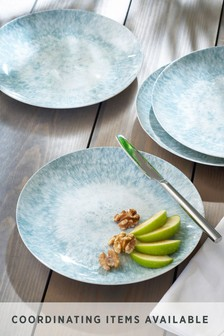 Teal Reactive Print Melamine Side Plate