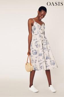 Oasis Blue Printed Midi Dress