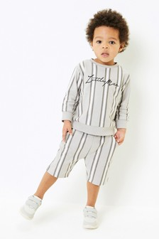 Vertical Stripe Jersey Crew And Shorts Set (3mths-7yrs)