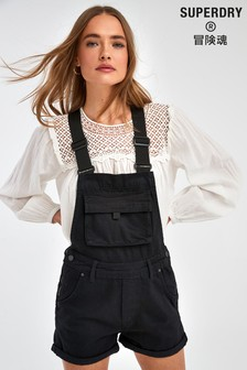 Superdry Black Short Dungarees