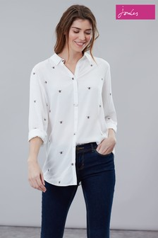 Joules Cream Elvina Button Front Woven Top