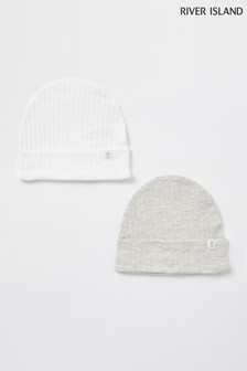 River Island Blue Marl Ribbed Beanie Hats Two Pack