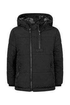 Boys Black Padded Logo Jacket