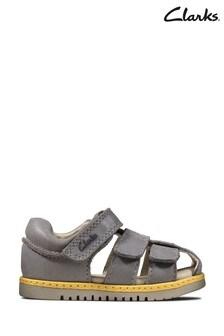 Clarks Grey Leather Frances Sun T Sandals