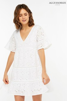 Accessorize White Schiffli Cutwork Cotton Dress