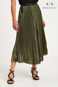 Armani Exchange Gold Pleated Skirt